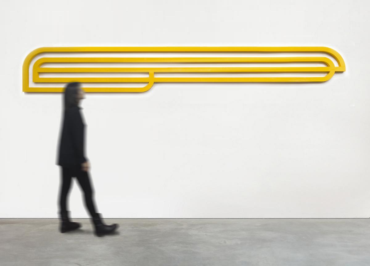 long yellow track, 2017 painted raw aluminum block, 50 X 345 X 3 cm - ratio 1:7