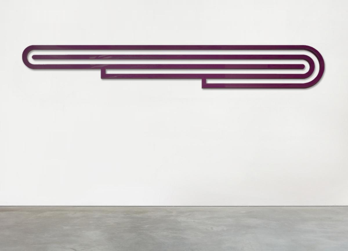 purple track, 2019 painted raw aluminum block, 50 X 345 X 3 cm - ratio 1:7