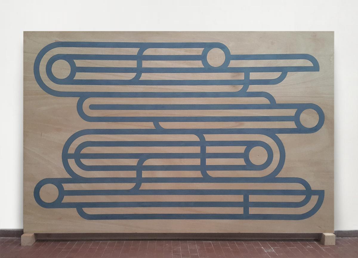 cloud, 2017 wax crayon on wood, 185 X 288 cm