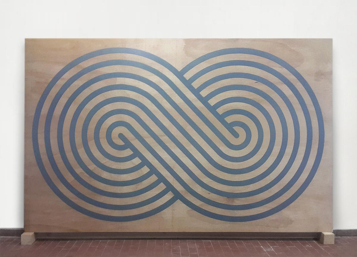 loop, 2017 wax crayon on wood, 182 X 288 cm