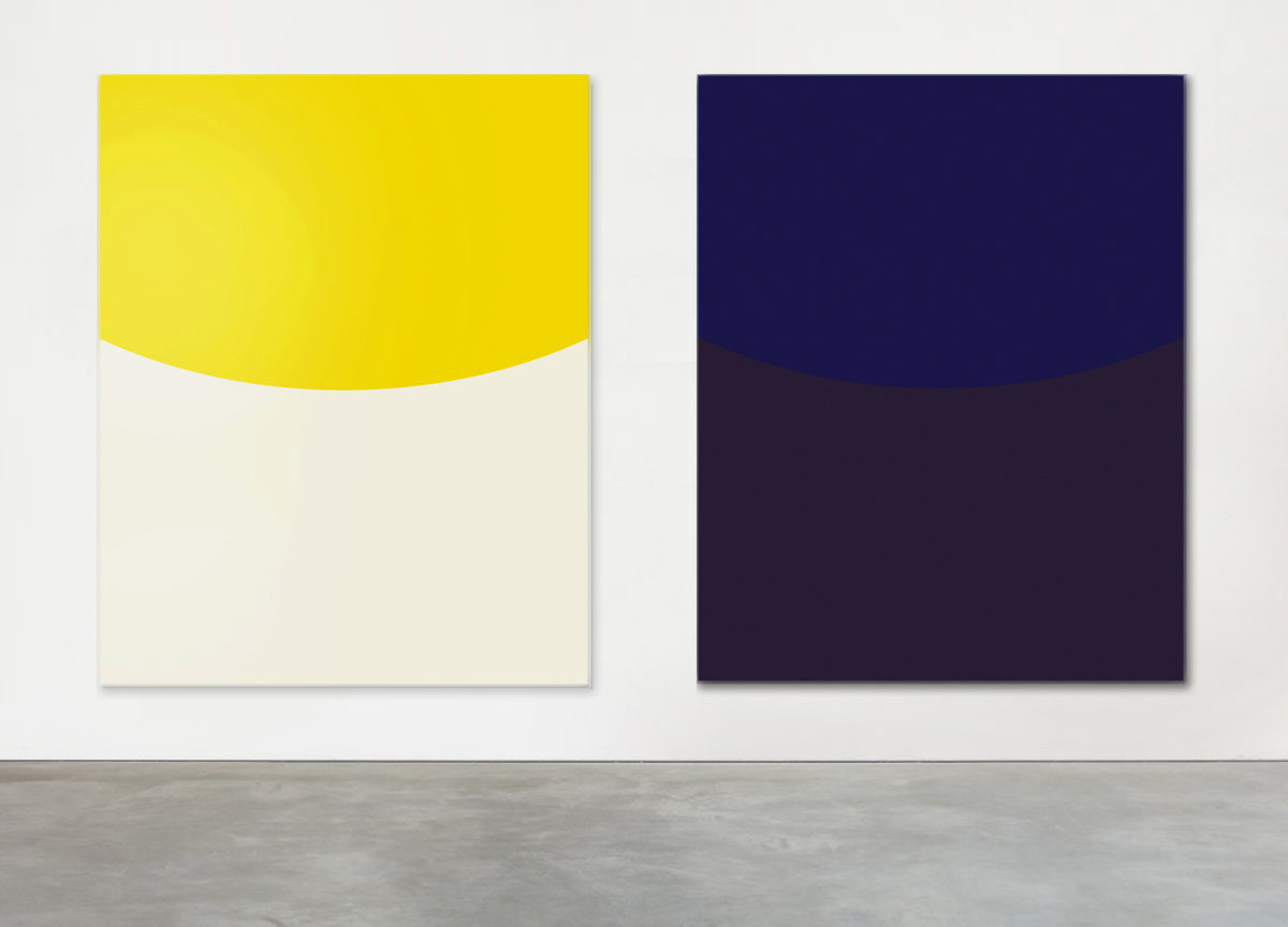 yellow on white, 2018 - blue on dark brown, 2018 painted aluminum, 163 X 130 cm
